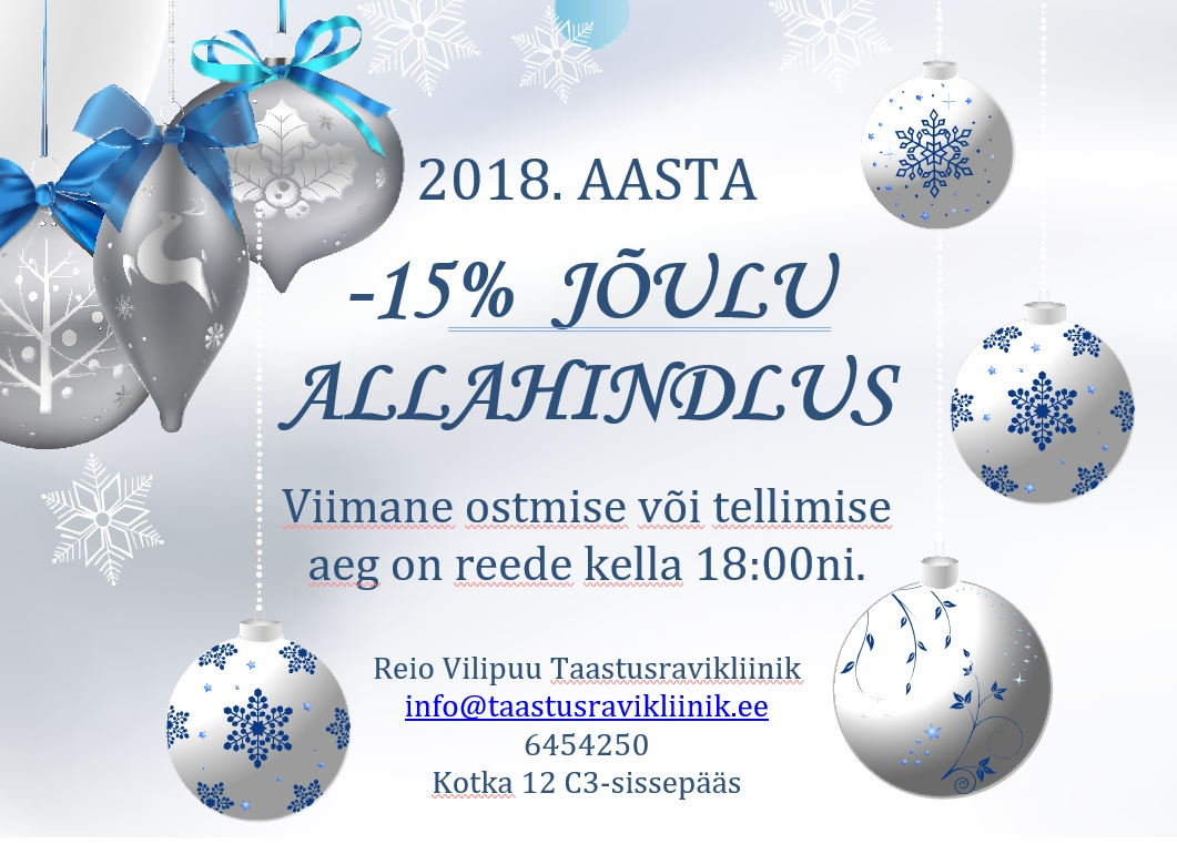 -15% pühade allahindlus kuni 21.12.2018